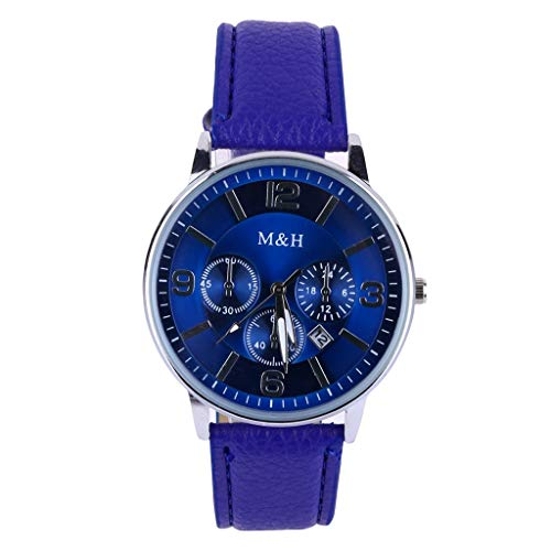 Amazon.com: XBKPLO Mens Quartz Watch,Numeral Business Fashion Blue Analog Wrist Watches Automatic Date Leather Strap: Pet Supplies