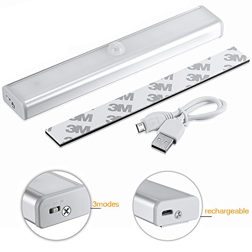 Ammiy Motion Sensor lights Built-in Rechargeable Battery Motion-Sensing LED Strip Night Light with Magnetic Strip, 3 Modes On-Off-Auto, White