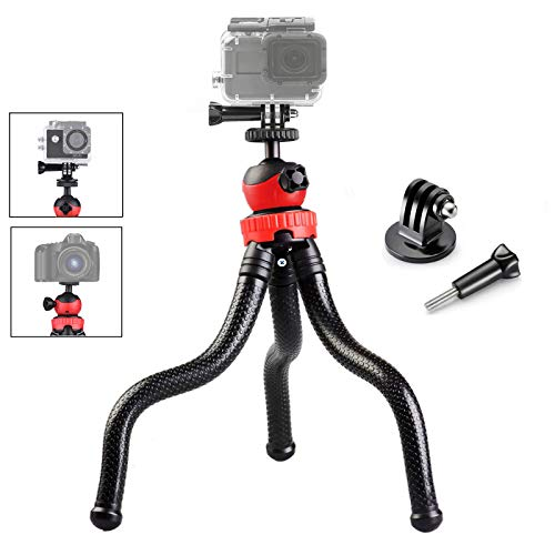 Gurmoir 3in1 Flexible Action Camera Tripod Stand for Gopro Hero 8/Hero 7/Hero 6/5/AKASO/SJCAM/YI/DJI Osmo Action/DSLR Canon Nikon Sony Camera. 12-inch Flexible Tripod with Adapter and Long Screw