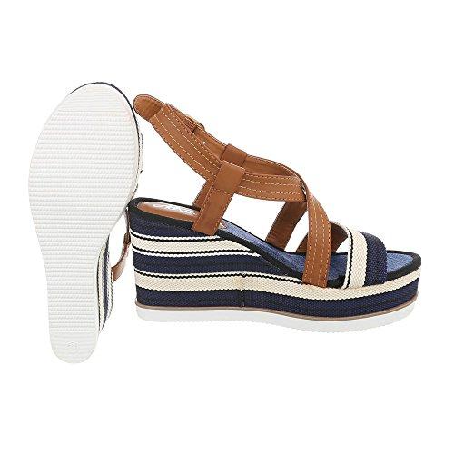 Ital-Design Zapatos Para Mujer Sandalias de Vestir Plano Sandalias con Plataforma Azul Multi D-31