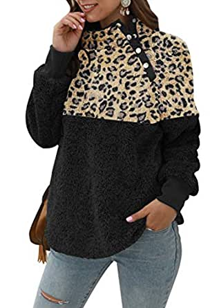ETCYY NEW Women Leopard Print Jacket Coat Color Block Sweatshirt Faux Shearling Cardigan with Buttons Outwear Black