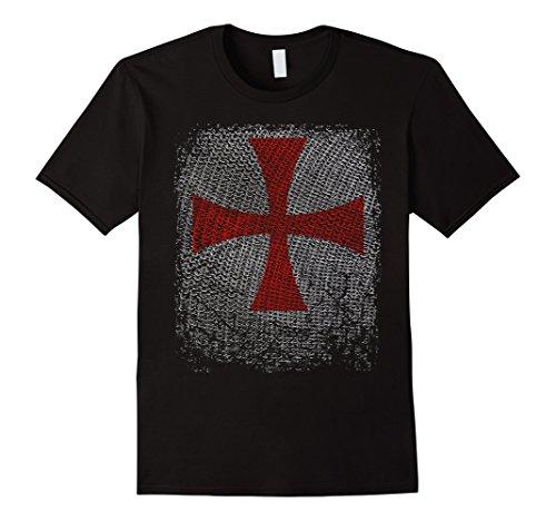 Mens Knight Templar T-Shirt Crusader Cross on Chain Armor Large Black
