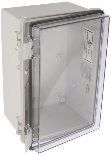 BUD Industries NBF-32218 Plastic Indoor NEMA Economy Box with Clear Door, 11-51/64' Length x 7-55/64' Width x 6-9/32' Height, Light Gray Finish