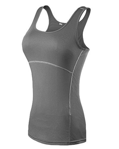 canottiera di forma base strato fisica Le T donne di sport Grigio shirt maniche yoga di 4nY5Hx