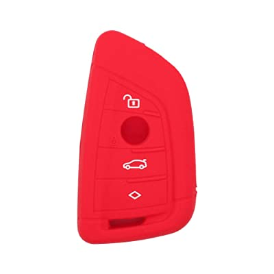 SEGADEN Silicone Cover Protector Case Skin Jacket fit for BMW X1 X3 X4 X5 X6 4 Button Smart Remote Key Fob CV4907 Red: Automotive