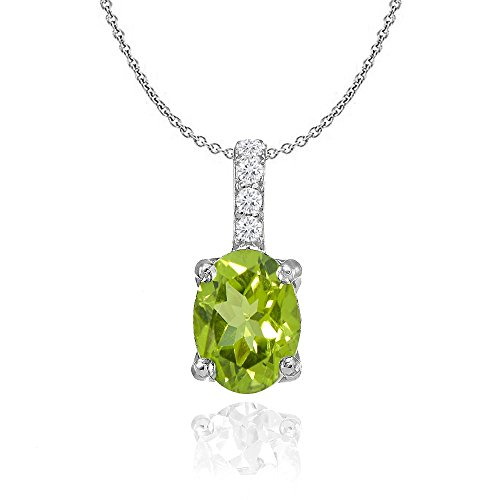 Sterling Silver Peridot and White Topaz Oval Crown Necklace (Peridot Star Pendant)