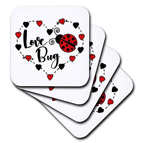 3dRose Janna Salak Designs Love - Love Bug Ladybug - set of 4 Ceramic Tile Coasters (cst_289653_3) - Ladybug Ceramic Tile