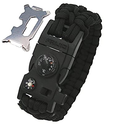 Frijid Double-wide Paracord Survival Bracelet - 14-in-1 Multi-Function Survival Kit: Compass / Thermometer / Fire Starter / Whistle / Multi-Tool from Frijid