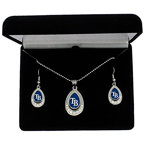 MLB Tampa Bay Rays Women's Crystal Teardrop Necklace and Earring Gift Set by Alyssa Milano, Silver