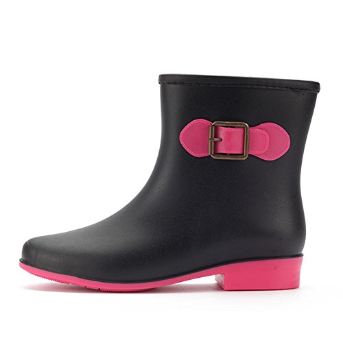 Boots fereshte Pull Waterproof Rain Fashion On Black Ankle Women's F77r04qwU