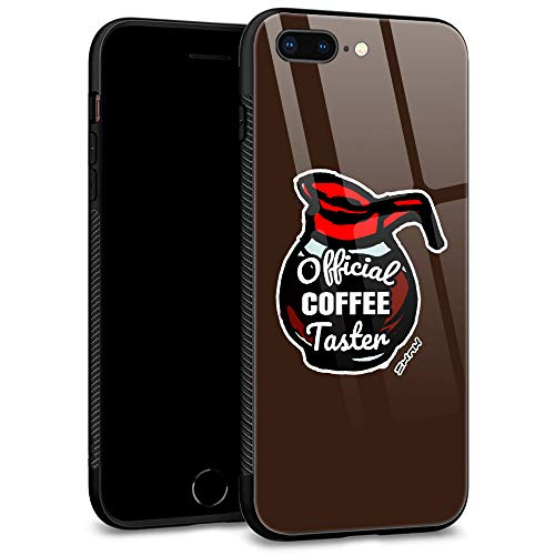 iPhone 7 Case,iPhone 8 Case Tempered Glass Back Shell Pattern Designed with Soft TPU Bumper Case for Apple iPhone 7/8 Cases -Official Coffee Taster