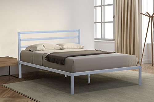 Oliver Smith - Modern Heavy Duty Silver Iron Metal Platform Bed Slats/No Box Spring Needed/Wooden Slat Supports - 5 Year Warranty Included - 00015 - King