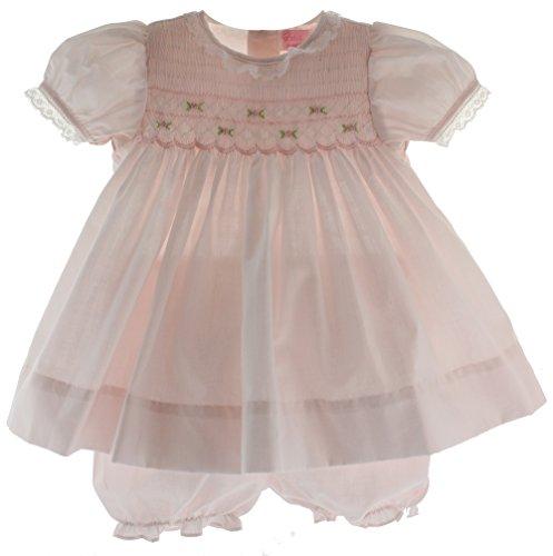 Infant Girls Pink Portrait Dress with Bloomer Set Petit Ami (3M)