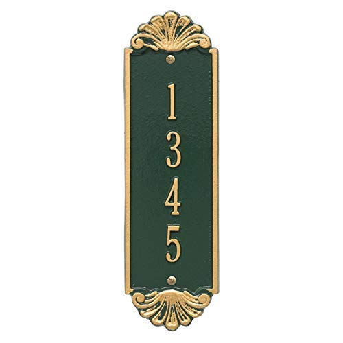 Customizable Modern Vertical 12″ House Numbers Wall Address Plaque Shell Pattern Adds Instant Curb Appeal for Outdoor Home Decor Personalized with Up to 4 Numbers Easy to Read 911 Sign - Wall Plaques Address Beach