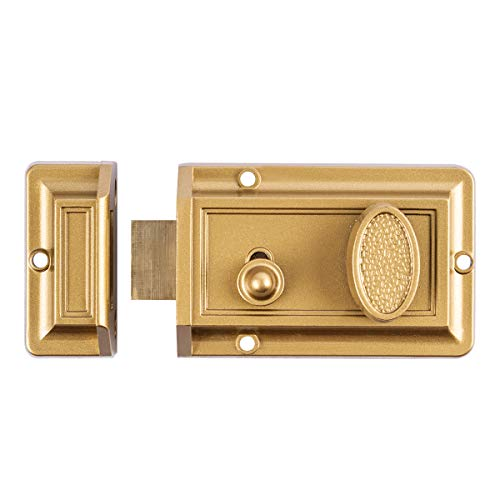 Sumbin Night Latch Lock Zinc Cylinder with Latch Bolt Gold Finish (Exterior Latch Rim)