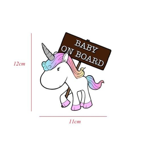 Baby on Board Decals Mama in Car Unicorn Stickers for Car Waterproof Shiny Reflective Material Last for 6 Yr Pack of 2