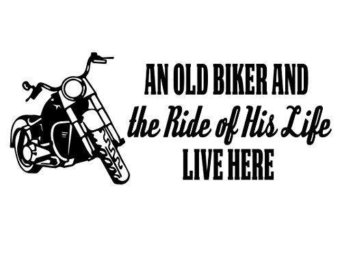 Biker Grandpa Gifts -an Old Biker and The Ride of His Life with Motorcycle Image - Vinyl Decal Home Decor