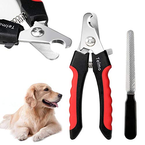 TeImo Professional Dog Nail Clippers and Trimmer with Safety Guard on Razor Sharp Blades and Nail File