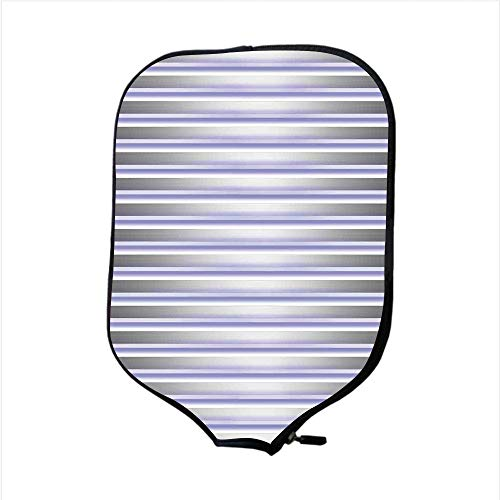 iPrint Neoprene Pickleball Paddle Racket Cover Case,Modern Decor,Stripe Tube Like Bars Animation Inspired Digital Minimalist Graphic Art,Silver Lavender,Fit for Most Rackets - Protect Your Paddle -