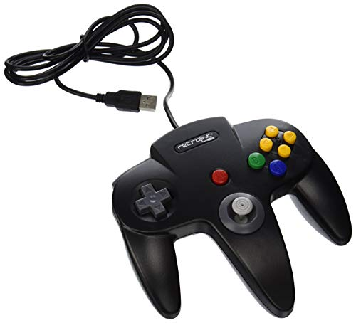 - Retro-Link Wired N64 Style USB Controller for PC & Mac, Black (Renewed)