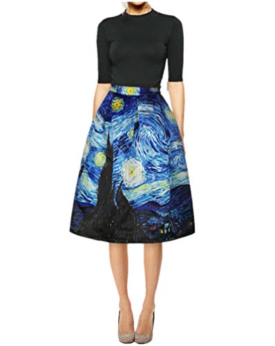 - FUNCOS Women's Digital Print High Waisted A-Line Pleated Vintage Midi Skirts,Style 1,Small / Medium