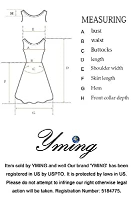 YMING Women's Elegant Cocktail Maxi Dress Deep V Neck 3/4 Sleeve Vintage Pleated Dress
