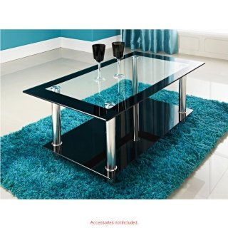 Phoenix Home Living Kingston Clear Black Glass 2 Tier Coffee Table