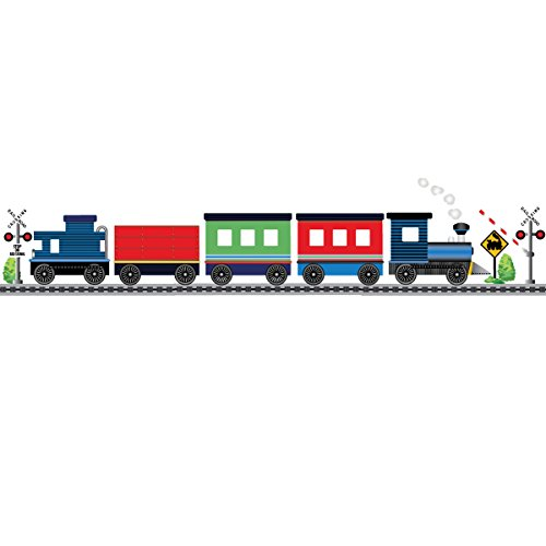 Blue Caboose Train with Straight Railroad Track Wall Decals Eco- Friendly Peel and Stick! Color 1
