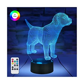 [ 7 Colors/3 Working Modes/Timer Function ] Remote and Touch Control Dog/Puppy Night Lights, Dimmable LED Bedside Lamp for Children and Kid's Room