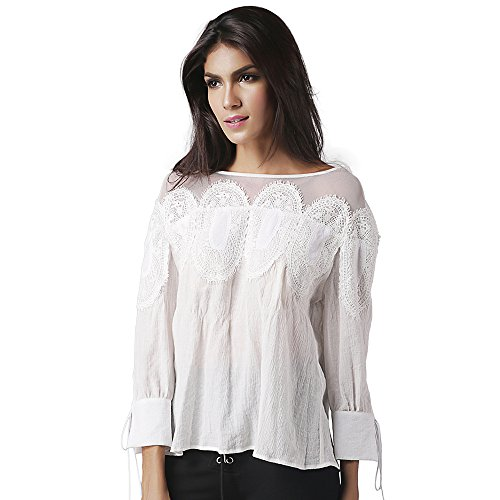 Exlura Women Lace Inset Long Sleeves Boat Neck Drop Shoulder Blouse - Shipping With Online India Shopping In Free