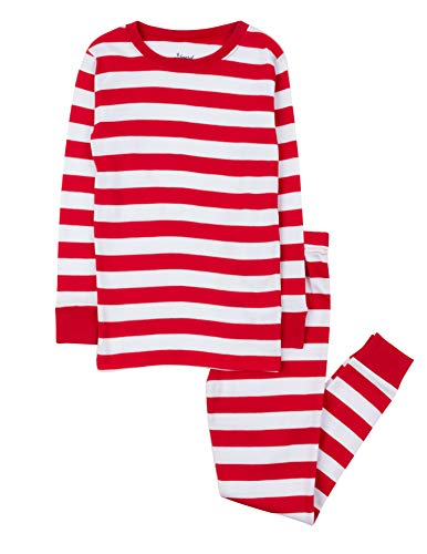 Leveret Kids Christmas Pajamas Boys Girls & Toddler Pajamas 2 Piece Pjs Set 100% Cotton (Red/White, 10 Years) ()