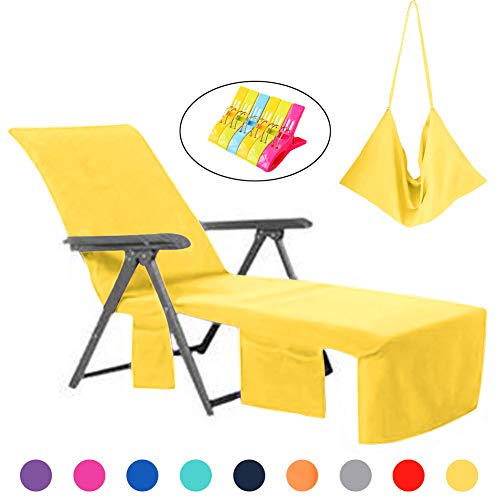 VOCOOL Lounge Chair Beach Towel Cover Microfiber Pool Lounge Chair Cover with Pockets Holidays Yellow