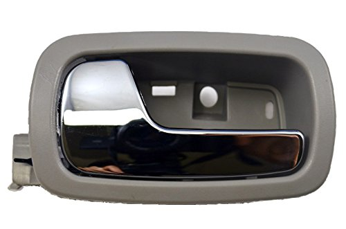 Gray Inside Front Driver - PT Auto Warehouse GM-2007MG-FL - Inside Interior Inner Door Handle, Gray Housing with Chrome Lever - Driver Side Front