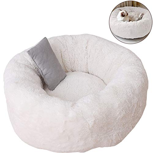 TINTON LIFE Luxury Plush Pet Bed with Pillow for Cats Small Dogs Round Donut Cuddler Oval Cozy Self-Warming Cat Bed for Improved Sleep