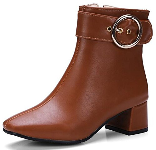 IDIFU Womens Classic Buckle Mid Chunky Heels Square Toe Bikers Ankle Boots With Side Zipper Brown nC9Smo