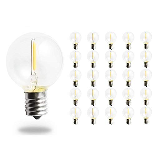 (Pack of 25 G40 LED String Lights Replacement Bulb E12 Screw Base Warm White 2700K Retro Style Glass Light Bulbs 360 Grad Beam Angle Non-Dimmable)