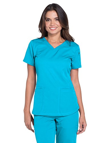 Dickies Dynamix Women's V-Neck Solid Scrub Top X-Large Blue Ice