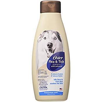 Oster Flea & Tick Shampoo with Oatmeal, Fresh Breeze, 18 Fluid Ounces (078590-965-001)
