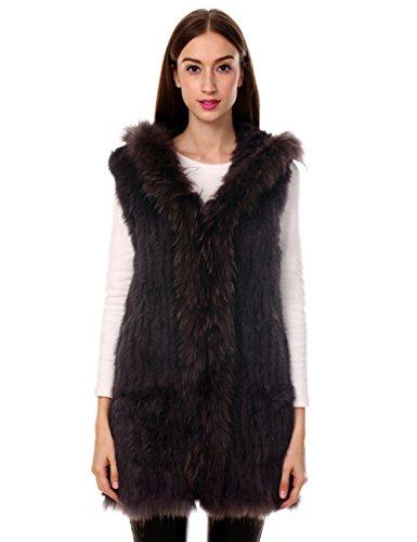 Cappuccio Gilet Con Vera Pelliccia Giacca In Coniglio Ferand Elegante Donna Inverno Procione Marrone Di Lunga Per Collare wgAqx4xp