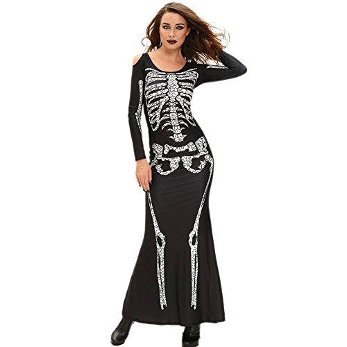 Maxi Dress Skeleton Print Sleeve Floor-Length Halloween Costume Party Dresses (Halloween Punch Jello Hand)