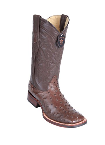 Los Skin Boots Altos Western Ostrich Leather Square Brown Men's Wide Toe Genuine rrw8pq
