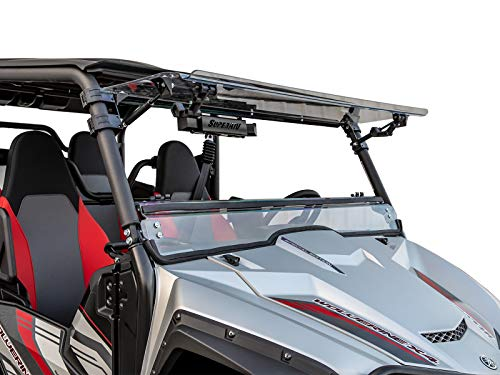 SuperATV Heavy Duty Scratch Resistant 3-IN-1 Flip Windshield for Yamaha Wolverine X2 (2019+) - Hard Coated for Extreme Durability - Can be Set to Open, Vented, or Closed! ()