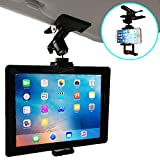 Nanmara Car Mount for iPad Tablet Clip Holder Firmly Secured with Powerful Clip Holder That can be Used in Many Places Installation Location for Sun Visor, Rear Seats, etc. (Tablet & Smartphone)