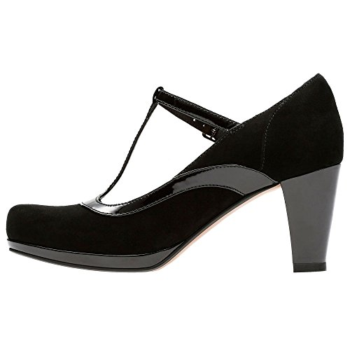 Clarks Damen Chorus Pitch T-Spangen Pumps Dark Grey Combi