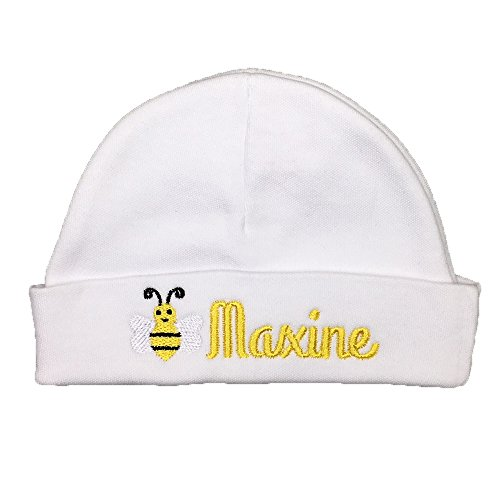Personalized Baby hat with Embroidered Bumble bee, Custom Baby hat, Newborn Gift,, Preemie hat, NICU hat, Preemie Gift (0-3 Months) (Bumble Toddler Cap Bee)