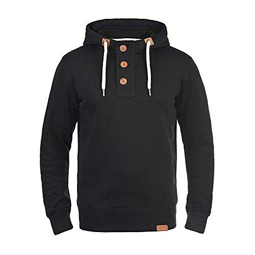 Cotton Hoodie Men Duseedik Trip Men's Hooded Pullover Sweatshirt Sweater with Buttons Coat ()