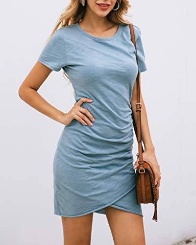 BTFBM Women's 2020 Casual Crew Neck Ruched Stretchy Bodycon T Shirt Short Mini Dress