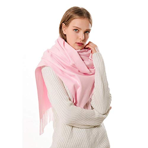 Womens Large Soft Cashmere Feel Pashmina Shawls Wraps Light Scarf in Solid Colors Pink