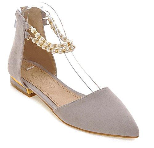 YE Shoes Knöchelriemchen Flache Pumps mit Perlen und Reißverschluss Spitze Zehe Sandalen Süße Bequem Sommer Schuhe Damen Grau