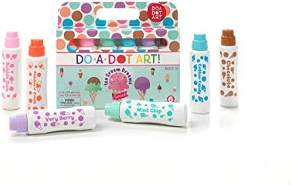 The Original Dot Marker Ice Cream Scented Washable Dot Markers for Kids and Toddlers Set of 6 Pack by Do A Dot Art
